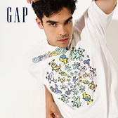Gap男女同款 Gap x Grateful Dead聯名系列寬鬆厚磅短袖T恤 701567-白色