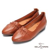 【CUMAR】簡約步調 -小清新風格抓皺微尖頭內增高包鞋(棕)