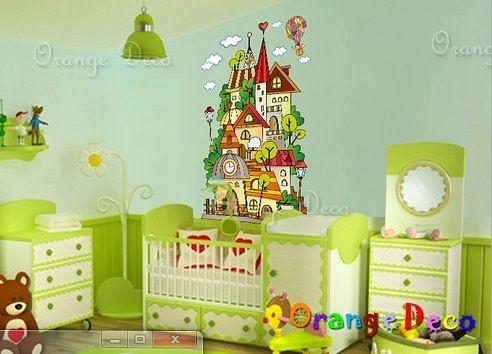 壁貼【橘果設計】城堡 DIY組合壁貼/牆貼/壁紙/客廳臥室浴室幼稚園室內設計裝潢