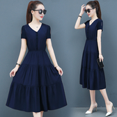 長洋裝 收腰顯瘦 氣質小香風v領長裙