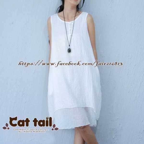 《貓尾巴》LZ-01041 簡約素雅棉紗款無袖連身裙(森林系 日系 棉麻 文青 清新)