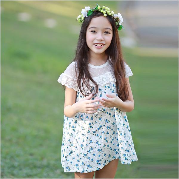 小碎花洋裝 女童 蕾絲 透膚披肩 連身裙 連衣裙 洋裙 Augelute 53009
