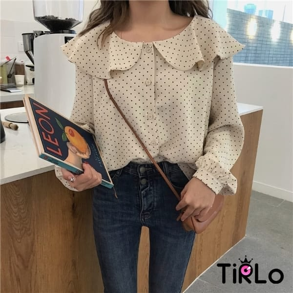 (追加)雪紡衫 翻領點點雪紡衫 一色-Tirlo