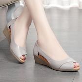 魚口鞋 媽媽涼鞋女夏季平底軟底中跟厚底楔形單鞋中老年魚口鞋女鞋-Ballet朵朵