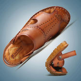 涼鞋 男潮夏季2019新款防滑涼拖鞋 兩用包頭男士休閒軟底沙灘鞋 【mylove中大尺碼】