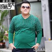 胖子男裝加肥加大碼印花長袖t恤特肥特大號v領體恤胖人汗衫XXXXL 水晶鞋坊