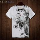 Qoqozozo2019新款中國風印花短袖T恤 個性水墨竹子青少年寬松潮T