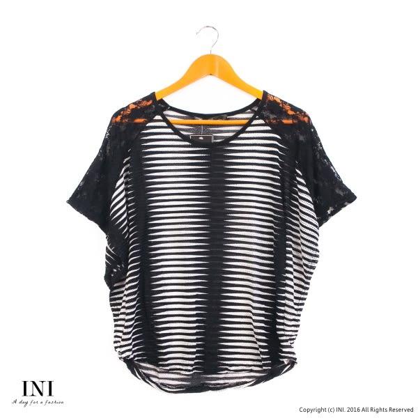 【INI】唯美修飾、透膚蕾絲編織設計上衣.黑色