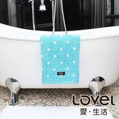 Lovel 專利咖啡紗除臭抗UV圓點浴巾-藍