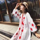 早秋款波西米亞度假風刺繡棉麻燈籠袖寬鬆顯瘦大碼連身裙洋裝8057ZL-E5F-E518依佳衣