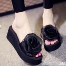 手工花朵6厘米厚底防滑拖鞋女外穿一字拖鞋2019新款韓版時尚3網紅 印象家品