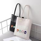 創意個性插畫女孩印花手提包少女日系文藝純色單肩包大包包購物袋 快速出貨