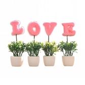 仿真植物LOVE小盆栽假花小樹草球盆景家居客廳桌面擺設裝飾品擺件 居享優品