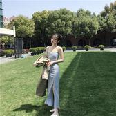 韓版2018新款連衣裙復古chic修身顯瘦純色百搭開叉時尚吊帶長裙女 草莓妞妞