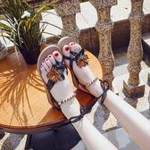 夏新款韓版羅馬平底學生簡約夾腳百搭度假海邊沙灘chic女涼鞋     韓小姐