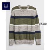 Gap男童 條紋圓領長袖針織衫 360863-綠色條紋