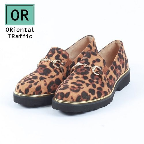 【ORiental TRaffic】金屬釦飾厚底樂福鞋-豹紋駝