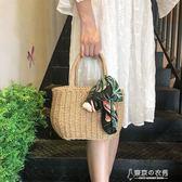 手提草編包女士夏季森系手工編織包沙灘度假百搭絲巾小包 東京衣秀