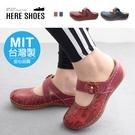[Here Shoes]MIT台灣製 前1.5後4cm休閒鞋 百搭字母皮革楔型厚底圓頭半包鞋 懶人鞋 穆勒鞋 魔鬼氈-KN316