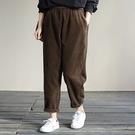 純棉燈芯絨九分褲 鬆緊腰純色寬鬆哈倫褲/4色-夢想家-0115