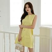 無袖洋裝小禮服 2021年新款韓版無袖后開叉露背收腰顯瘦百搭減齡連身裙女A字短裙