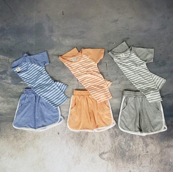 舒適薄棉條紋短袖上衣+運動褲 短褲 套裝  橘魔法 Baby magic 現貨 兒童 童裝