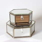 首飾盒 玻璃首飾盒擺件廠家直銷銀鏡磨邊禮品收納盒  【全館免運】