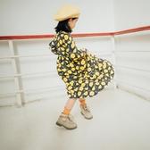 女童復古半高領連身裙秋季長袖款長裙子純棉