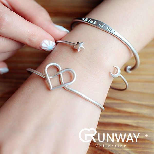 【R】韓國 個性 新款 磨砂 銀色 星月 愛心 手鐲 手環 送禮 搭配 最佳選擇