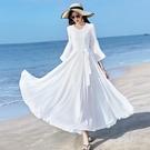 雪紡洋裝 2021新款春夏女V領純色雪紡大荷葉袖甜美連身裙修身顯瘦收腰大擺長裙