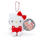 〔小禮堂〕Hello Kitty 絨毛玩偶娃娃吊飾《紅白.扇套》掛飾.演唱會粉絲收納系列 4901610-21964