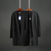 (萬聖節)2018秋冬男士中長版針織開衫風衣韓版修身彈力純色男毛線外套1678