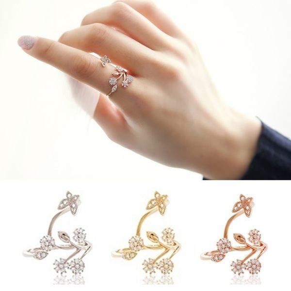 夢幻花園蝴蝶微鑲鋯石戒指