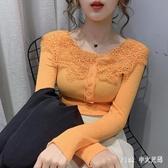 蕾絲娃娃領打底衫女士內搭2020早春新款洋氣性感上衣長袖t恤 LF2060【Pink中大尺碼】