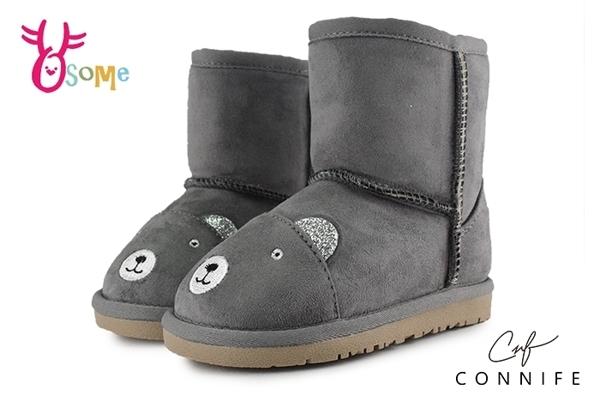 CONNIFE 雪靴 兒童靴 中小童 慵懶熊先生 日韓系 N8040#灰色◆OSOME奧森童鞋