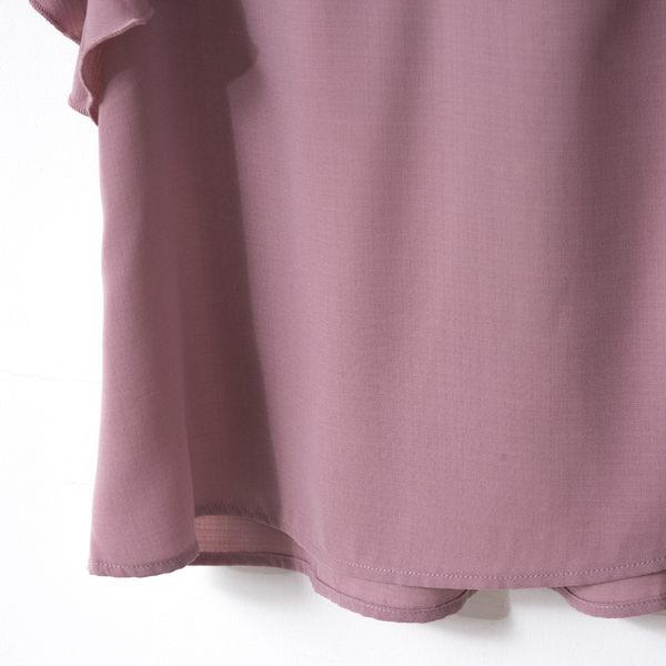單一優惠價[H2O]肩膀蝴蝶結裝飾波浪小落肩平織上衣-粉色 #8675031