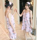 吊帶睡裙女夏季純棉性感帶胸墊可愛睡衣清新學生寬鬆家居服可外穿