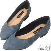 Ann'S時髦都會女郎-牛仔織紋顯瘦V口平底尖頭鞋-牛仔藍