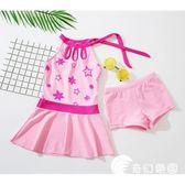 泳裝-女童泳衣兒童連體公主裙式平角褲小中大童韓版女孩學生溫泉游泳衣-奇幻樂園