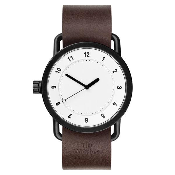 TID Watches No.1 White 白底x胡桃木色真皮腕錶-40mm
