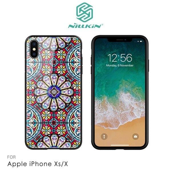 NILLKIN Apple iPhone Xs/X 夢璃彩窗玻璃手機殼 鋼化玻璃 鏡面效果