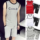 兩件套運動套裝男士夏季短袖跑步服 夏天休閒T恤五分短褲薄款男夏