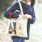 帆布包ins女包包文藝復古單肩包簡約布袋手提環保購物袋『小宅妮時尚』