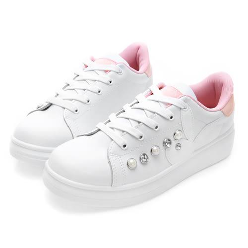 PLAYBOY 搶眼POIN 大珍珠鑽石厚底休閒鞋-白粉