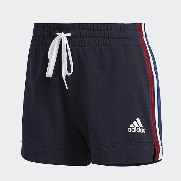 ADIDAS 短褲 CORE/NEO 運動短褲 白紅藍邊 女 (布魯克林) GK3633