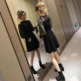 性感套裝裙女秋裝新款韓范木耳邊雪紡衫絲絨背心洋裝兩件套