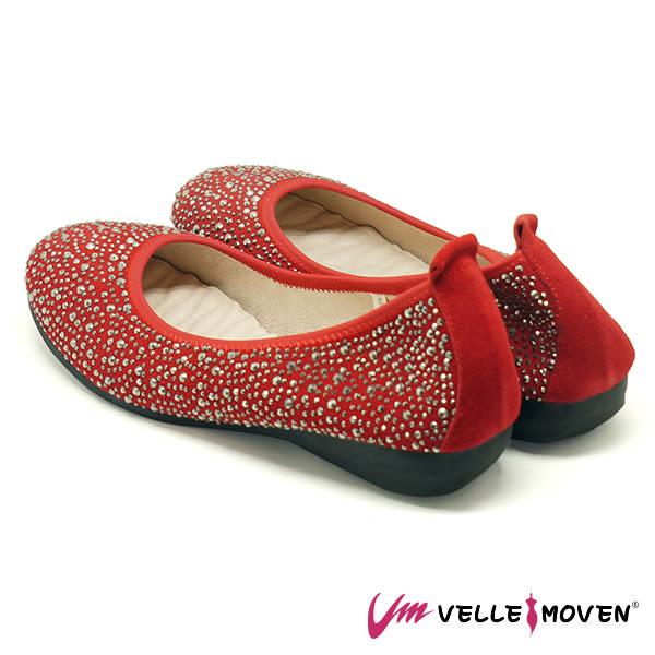 休閒鞋 便鞋 低跟鞋 VelleMoven 鞋面全鑽 閃亮登場 熱情紅