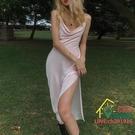 吊帶洋裝 性感心機V領吊帶中長款開叉連衣裙女chic法式赫本風裙子潮 限時折扣