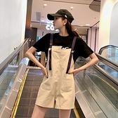 2021年流行吊帶褲女短款春季薄款套裝寬鬆韓版可愛小個子工裝短褲 【3·8女王節】 【3·8女王節】