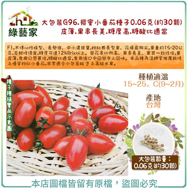 【綠藝家】大包裝G96.櫻蜜小番茄種子0.06克(約30顆) (皮薄蕃茄.果串長美.糖度高.糖酸比適當)